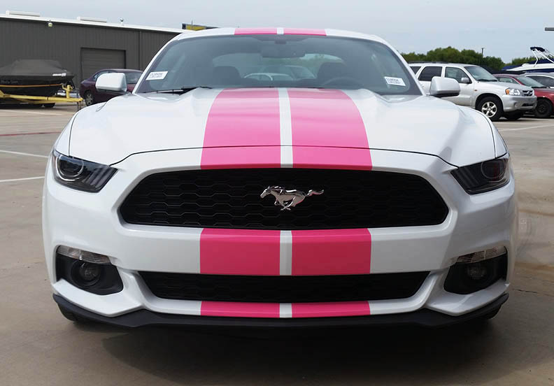 Mustang racing stripes pink lewisville