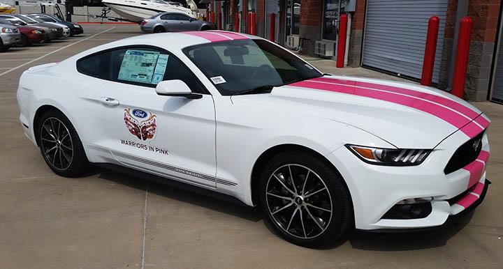 Pink Racing Stripes Mustang