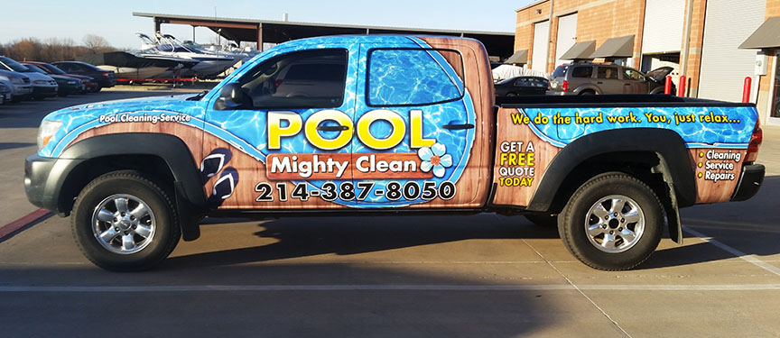might pool clean truck wrap dallas