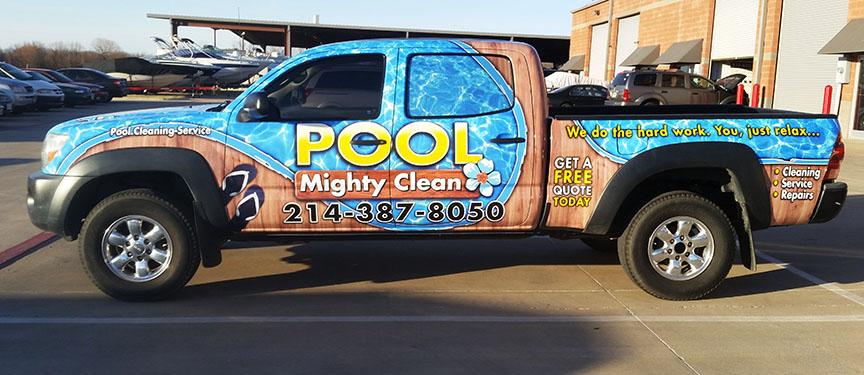 might pool clean truck wrap dallas
