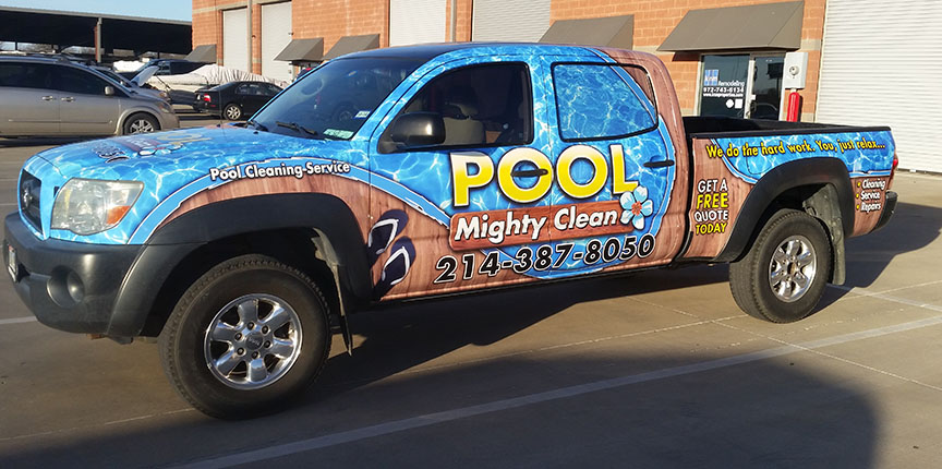 truck wrap dallas pool clean