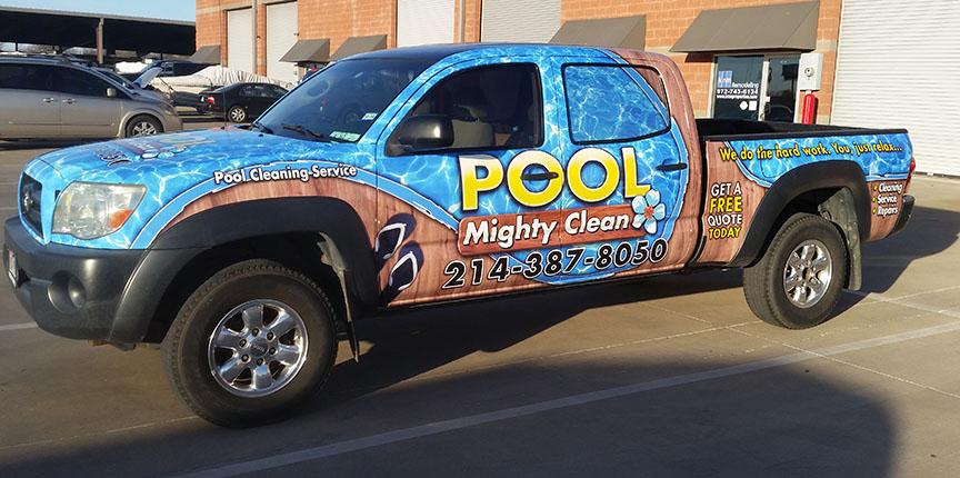 truck wrap dallas pool clean